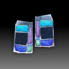 Colorblock Earrings in Multi & Night by Carly Wright: Enameled Earrings available at www.artfulhome.com