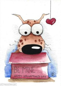 ACEO-Original-watercolor-whimsical-animal-painting-art-dog-Valentines-day-box