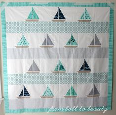 / Beauties Pageant 46 (From Bolt to Beauty) Beach Themed Quilts, Nautical Terms, New England Aquarium, Beach Quilt, Modern Quilt Patterns, Small Quilts, Beauty Pageant, Quilt Top, Sewing For Kids