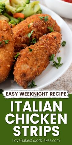 My kids LOVED these Italian Chicken Strips! Simple dinner idea for a weeknight meal. It's going in our dinner rotation. Yummy Chicken Recipes, Delicious Dinner Recipes, Yum Yum Chicken, Turkey Recipes, Yummy Recipes, Yummy Food, Healthy Recipes, Easy Weeknight Meals, Easy Meals