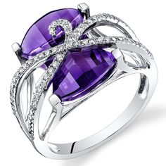 Peora 14K White Gold Baroness Cut Amethyst Diamond Ring (9.47 cttw) >>> You can get additional details at the image link. (This is an Amazon Affiliate link and I receive a commission for the sales)