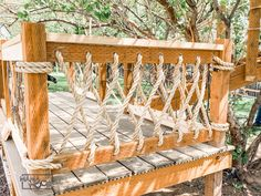 Rope Railing, Rope Fence, Patio Railing, Railing Ideas, Tree House Plans, House Deck, Outdoor Living, Outdoor Decor, Outdoor Furniture