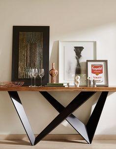 Pallet Furniture Designs, Metal Furniture, Home Decor Furniture, Diy Home Decor, Modern Interior Design, Modern Decor, Credenza Decor, White Credenza, Modular Table
