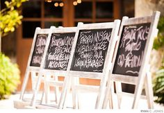Chalkboard signs are a cute DIY touch. Wedding Planner: Shelli Armstrong Events and Design  Wedding Ceremony and Reception Venue: Holman Ranch, Vineyard and Winery   Wedding Photographer: Araiza Photography