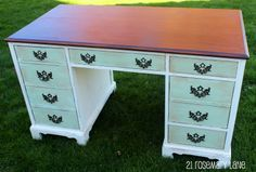 Nicely painted desk similar to a desk I am going to refinish sometime soon.