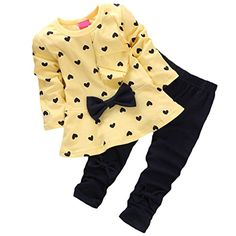 Shanshan Super Cute Baby Girl Bowknot 2pcs Set Children Clothes Suit Top and Pants Age2T Yellow *** For more information, visit image link.