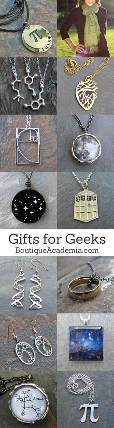 Science & math jewelry. Stuff for geeks with taste.