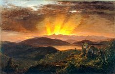 "Olana – East Parlor – ""The After Glow"" (1867), a painting by Frederic Edwin Church hangs above the fireplace"