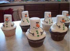Cute Snowman Cupcake.