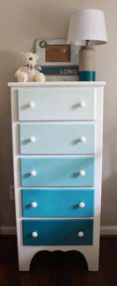 Long and Found: DIY Ombre Dresser. Could just use the sample size paints from Home Depot to paint each drawer!