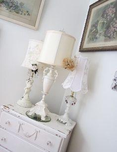 Vintage Urn Lamp  Shabby French Cottage  Art by PurpleFlowerFairy