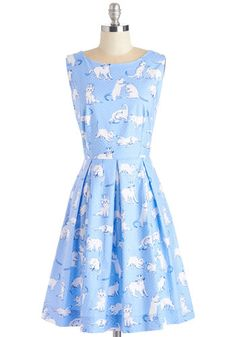 Chalk of the Town Dress in Kittens by Bea & Dot - White, Print with Animals, Print, Casual, 50s, 60s, Cats, Fit & Flare, Sleeveless, Exclusives, Private Label, Cotton, Woven, Blue, Pleats, Pockets, Vintage Inspired, Quirky, Mid-length