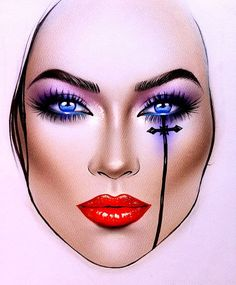 Makeup Face Illustration Make Up 61 Super Ideas Makeup Goals, Makeup Inspo, Makeup Inspiration, Makeup Ideas, Eyebrow Makeup, Makeup Eyeshadow, Eyeshadows, Maquillage Halloween, Halloween Face Makeup