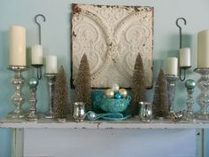 Curly Willow DIY: Bottle Brush Trees and Mercury Glass, Please! Love the soup toureen filled with ornaments!