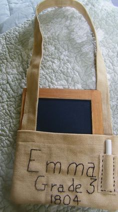 Primitive prairie little pioneer school days book bag chalk board Emma #NaivePrimitive