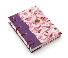 The front cover - pink and purple handmade book | Ruth Bleakley