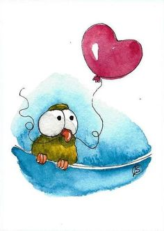 ACEO Original watercolor painting green whimsical bird on wire red heart balloon #IllustrationArt