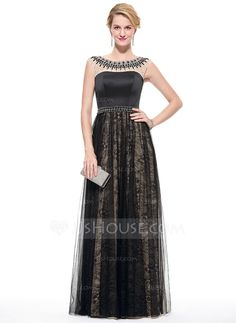 [US$ 169.99] A-Line/Princess Scoop Neck Floor-Length Satin Tulle Lace Prom Dress With Beading Sequins (018075882)