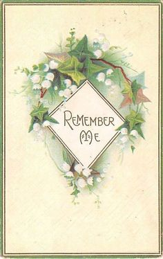 Lovely Lily of the Valley With Ivy on 1911 Postcard - Remember Me - Series 276