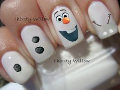 The Its Olaf transfers are clear and can be polished with a clear top coat to give extra shine or adhere to your already painted nails. Results are