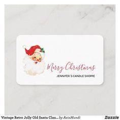 Vintage Retro Jolly Old Santa Claus Christmas Business Card Business Christmas Cards, Business Cards, Retro Vintage, Place Cards, Merry, Santa, Place Card Holders, Candles, Lipsense Business Cards