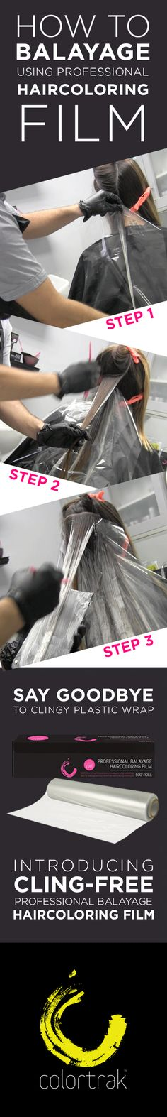 Say GOODBYE to clingy plastic wrap and HELLO to CLING-FREE Professional Balayage Haircoloring Film! Finally no more sticky messes or unpredictable results, and best of all, no product waste! #hairstylist #salon #haircolorformulas #professionalhair