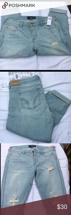 NEW Hollister Vintage Boyfriend Jeans Fresh from the store these brand new Hollister jeans are a size 15 (aka 32 waist). Vintage boyfriend style...cropped if too short for me 😉😉💯 Authentic (most receipts have been posted).  🚫No trades  ✅Only respectable offers made thru the OFFER tool accepted ❣️Please be kind as that's what you'll get in return ☮️Thanks for the opportunity to share my goods w/ u Hollister Jeans