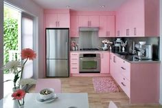 White Kitchen with Pink & Purple Appliances – Amazing Architecture Magazine Pink Kitchen Cabinets, Pink Kitchen Appliances, Kitchen Cupboard Designs, Kitchen Room Design, Cozy Kitchen, Interior Design Kitchen, Kitchen Walls, Pink Kitchens, Modern Kitchens