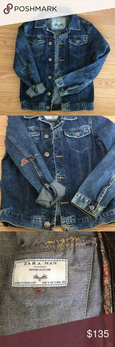 ZARA RARE DENIM COUTURE MEN'S Small JEAN JACKET ZARA  MAN RARE DENIM COUTURE MEN'S Small JEAN JACKET - PRISTINE CONDITION . No flaws , rip in elbow with patch is part of the look . Made in Morocco.  100% ALGODON COTTON. Zara Jackets & Coats Bomber & Varsity