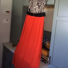 Loft, ORANGE you glad its a maxi skirt?😉 True orange ankle length skirt with side zip and eye-hook closure, under skirt for modesty, no stretch in the waistband. In good used condition. LOFT Skirts Maxi