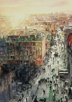 John Salminen Paris Street.  John Salminen is one of my favorite artists.  In fact, I took one of his workshops several years ago.  He brought many large prints of his paintings with him -this one included.