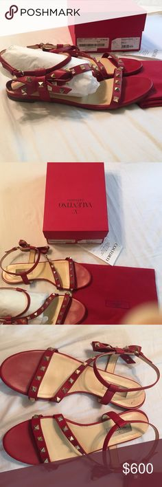 Valentino Garavani bow stud sandals Beautiful & rare red leather stud Valentino sandals! Just gorgeous on! I purchased for $790 at a one of my favorite boutiques on Lincoln Rd in MB called Coltorti. I think I wore them maybe 3-4 times. Excellent condition, box & dust bag included.❤️ Valentino Shoes Sandals
