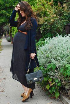 November Grey: Maternity Look 28 weeks - linen + cashmere + vintage shoes