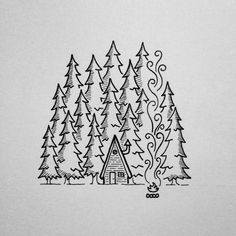 20 Trendy Ideas for house forest illustration woods Doodle Drawings, Easy Drawings, Doodle Art, Drawings Of Trees, Doodle Trees, Winter Drawings, Forest Illustration, House Illustration, Illustration Tattoo