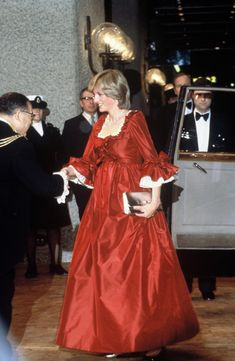 While pregnant with Prince William, Diana dazzled in this Marie Antoinette-inspired dress by David Sassoon at a function at the Barbican Centre.  - GoodHousekeeping.com
