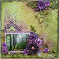 Love this beautiful layout designed by Gabrielle Pollacco using the new Autumn Song collection. Love how she used the purples and greens for a fall layout. #BoBunny, @Gabrielle Pollacco