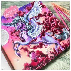 Diese Farbkombi ist absolut ein starkes Team ✨ Gefällt euch mein Pegasus? Ich denke, ich werde dem Pferdchen noch weiter Gesellschaft leisten und auch die zweite Seite malen #kerbyrosanes #mythomorphia #adultcoloring #adultcoloringbook #ausmalen #ausmalenfürerwachsene #posca #fabercastell #polychromos #rosa #pink #pegasus