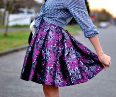 summer skirt, plaid rap around shirt.