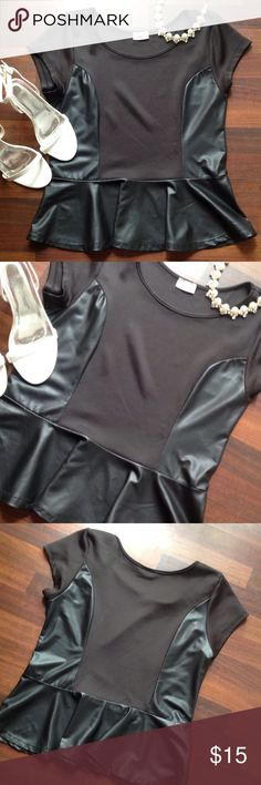 Top ⚠️NO OFFERS⚠️ Worn once cute peplum leatherette top 2x fits 16/18 Boutique Tops