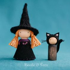 Little Witch and Her Cat Peg Dolls Waldorf by Beetle And Fern