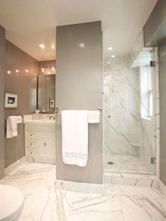 44 Unique Great Bathroom Design Ideas With Marble Bathroom Tile - Page 20 of 45 Marbel Bathroom, Marble Tile Bathroom, Stone Bathroom, Laundry Room Bathroom, Small Bathroom, Bath Room, Bathroom Ideas, Downstairs Bathroom, Budget Bathroom Remodel