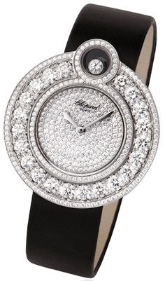 CHOPARD Happy 8 Watch - The watch case is made of white Gold set with Diamonds with one mobile Diamond; a Quartz movement, it is available with asleek satin or more adventurous fully-set diamond strap. Fine Watches, Cool Watches, Watches For Men, Women's Watches, Diamond Watches, Cheap Watches, Ring Armband, Bling, Patek Philippe