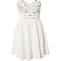 Reverse Jewel Cup Dress ($51) ❤ liked on Polyvore featuring dresses, vestidos, robe, short dresses, party dresses, cream, womens-fashion, white beaded cocktail dress, pleated mini dress e white mini dress