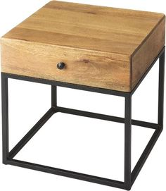 The minimalistic industrial styling of this square end table is an ideal addition in any modern space. Supported by a black finished iron base, its drawer box is constructed from mango wood solids and wood products in a natural finish. With clean lines and convenient drawer, the table also makes a great nightstand.