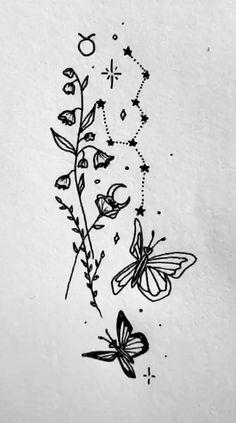Astrology Tattoo, Horoscope Tattoos, Taurus Tattoos, Spine Tattoos, Body Art Tattoos, Tatoos, Cute Tiny Tattoos, Dream Tattoos, Pretty Tattoos