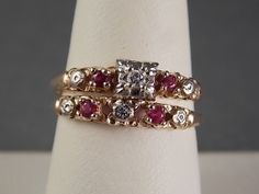1940s Ruby and Diamond Wedding Ring Set by estatejewelryshop, $325.00