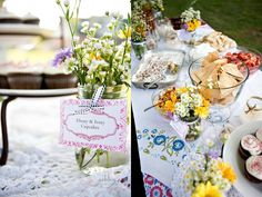 Check out the whole post. Cute ideas (fabric bunting, wildflowers, easy finger foods)
