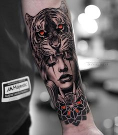 The new year has decided to take us by surprise and has released some magnificent body tattoos. These body tattoos are sensational. You will really enjoy these tattoos. Tiger Hand Tattoo, Hand Tattoos, Tiger Tattoo Sleeve, Forarm Tattoos, Forearm Sleeve Tattoos, Best Sleeve Tattoos, Tattoo Sleeve Designs, Body Art Tattoos, Wolf Girl Tattoos