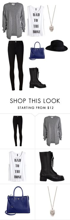 Edgy Casual Look by cecegonzalez on Polyvore featuring H&M, AG Adriano Goldschmied, Jil Sander Navy, Prada, Alexander McQueen, Pieces, women's clothing, women's fashion, women and female