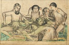 """medievalpoc: """"Egerton Genesis Picture Book f. 9v: Abraham and Ishmael are Circumcised Norfolk, England (c. 1375) The British Library. [x] """""""